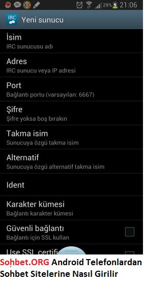 Sohbet.ORG - Android Telefonlardan Sohbet Sitelerine Nasıl Girilir